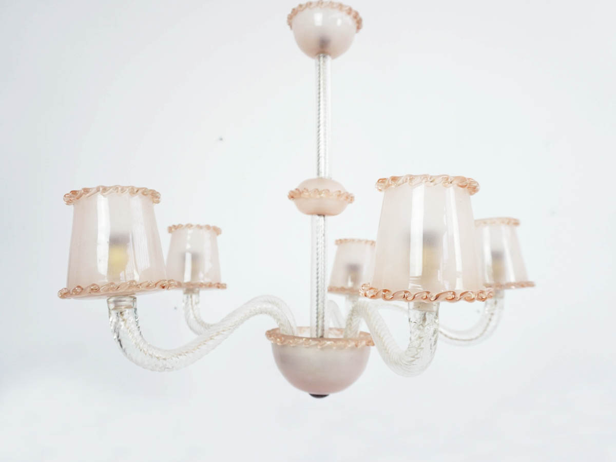 Pale Rose Murano Glass Chandelier