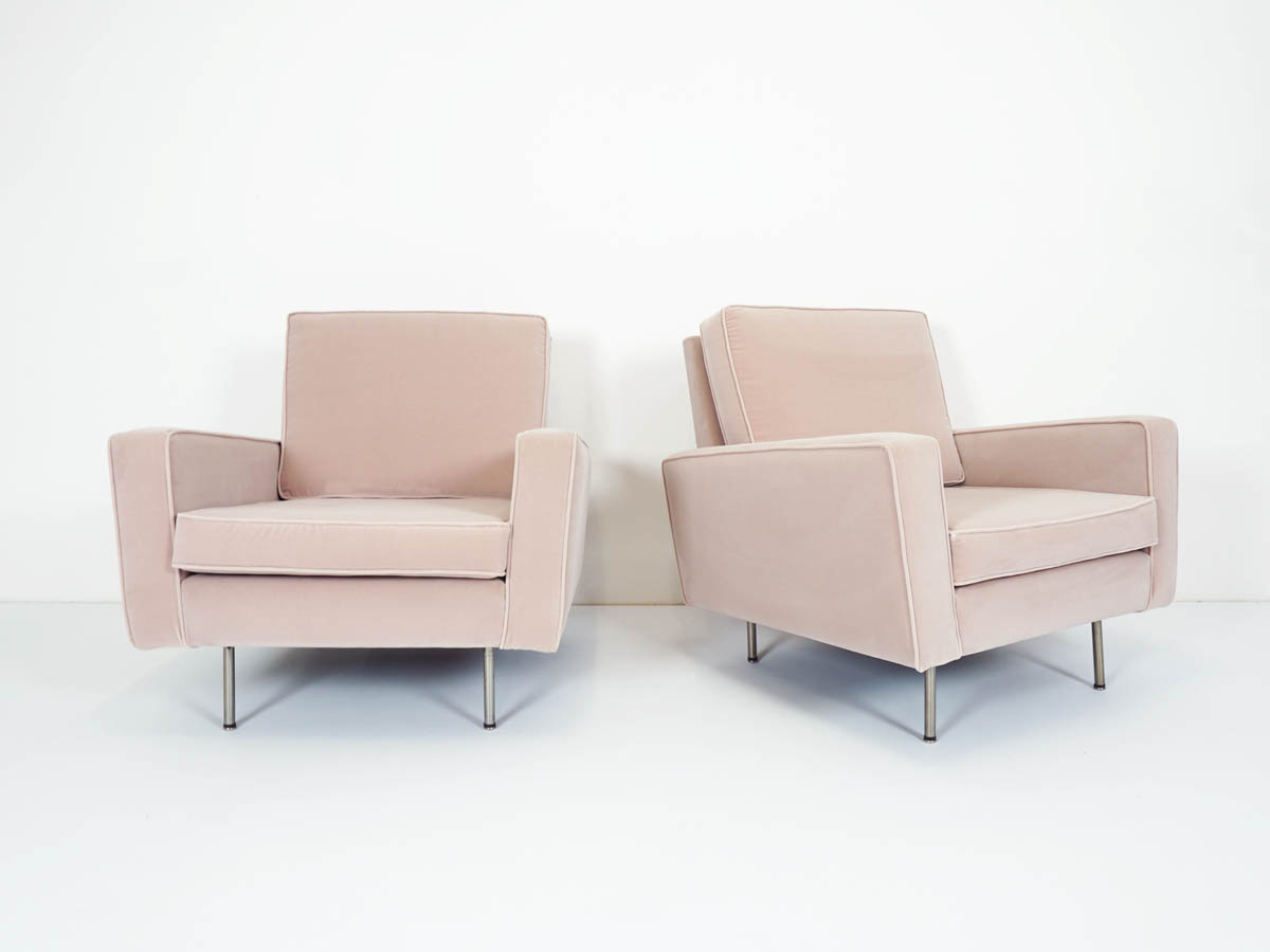 Pale rose velvet 1st Edition Knoll Armchairs