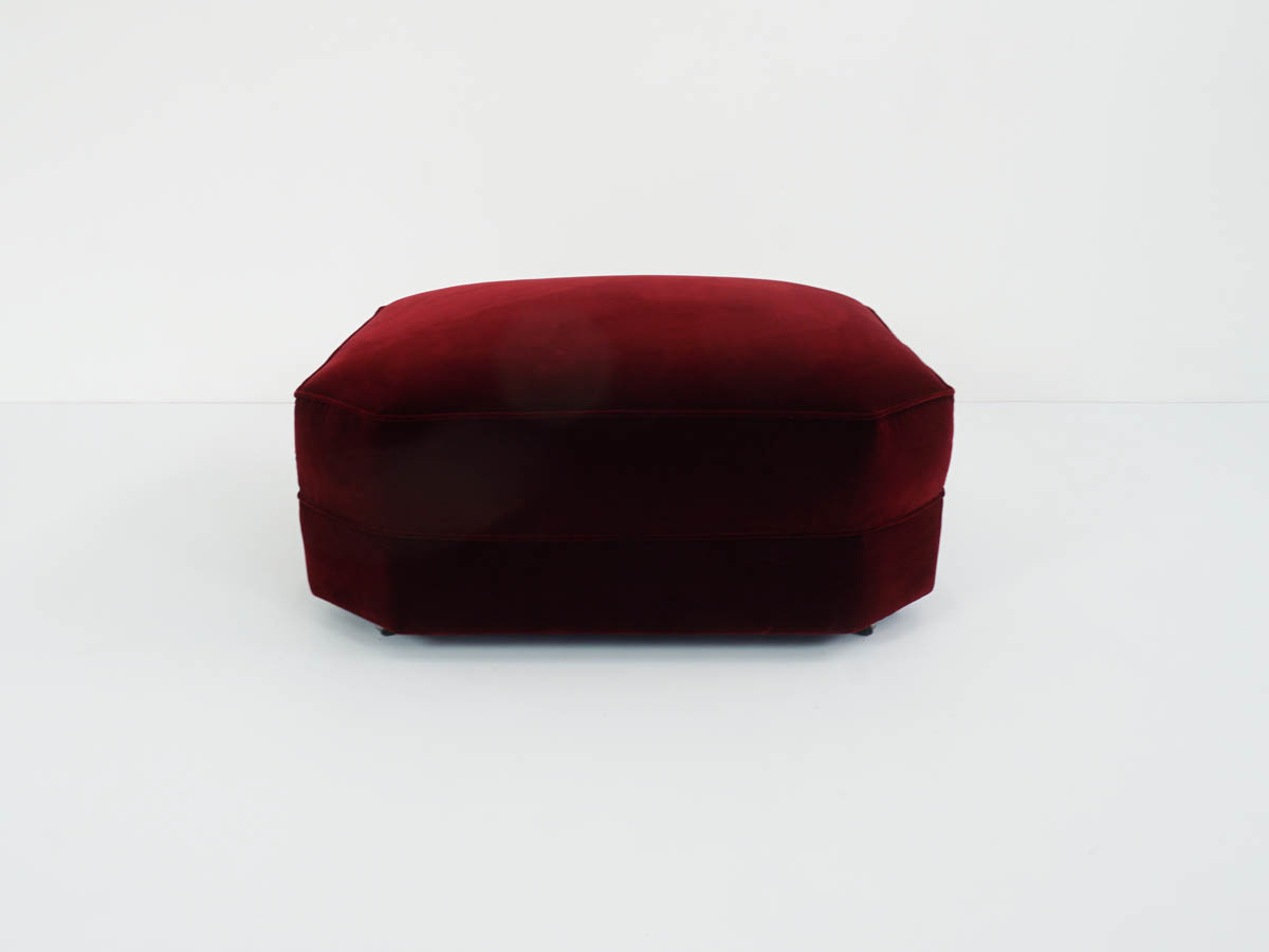 Square  Ottoman in Deep Red Velvet