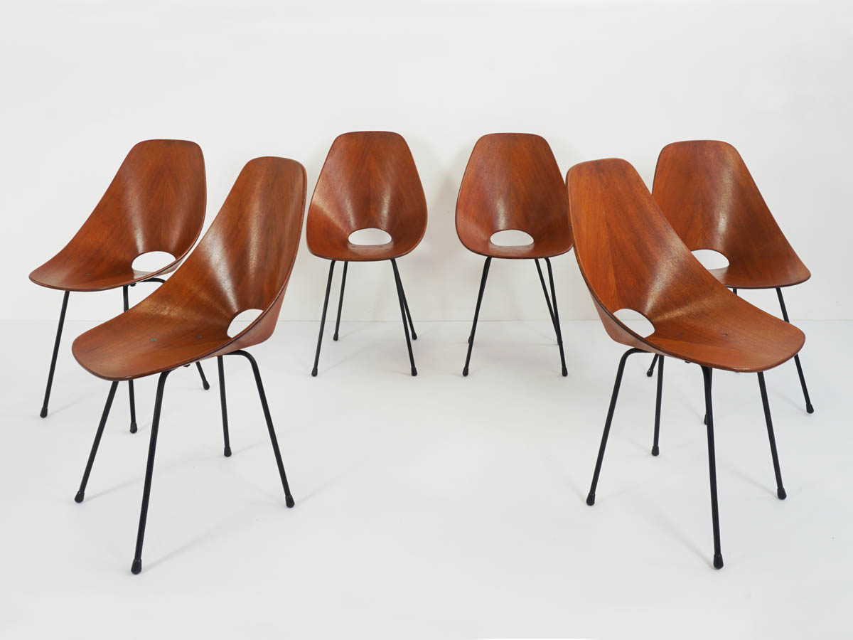 Set of 6 Teak Chairs mod. Medea