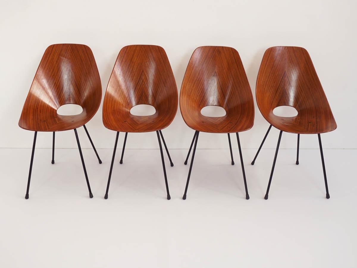 4 Elegant Rosewood Chairs mod. Medea