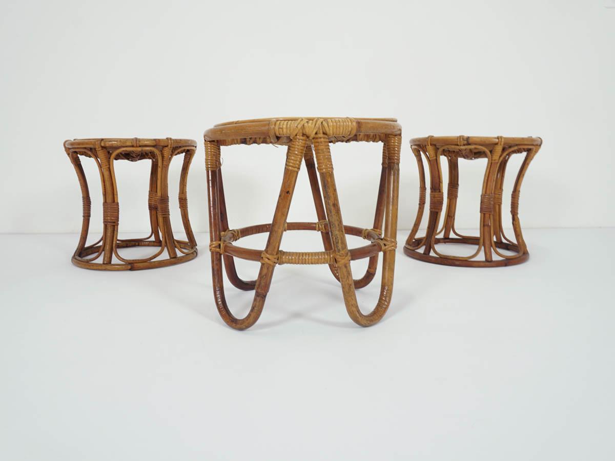 Set of 3 Bamboo Stools