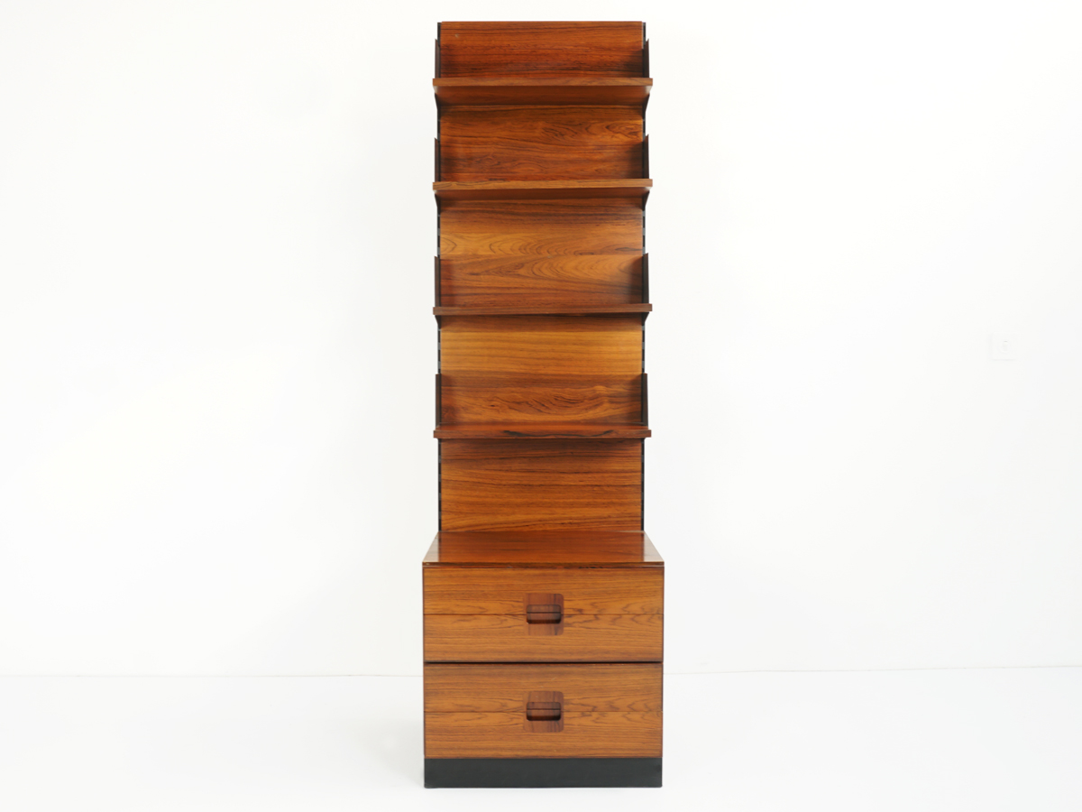 Rosewood bookshelf with 4 Drawers