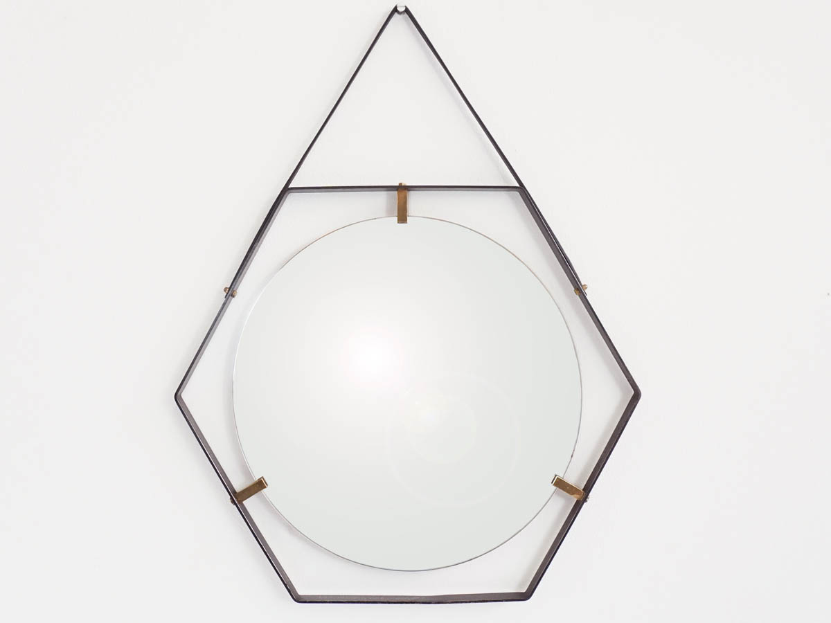 Hexagonal Mirror with Metal Strip