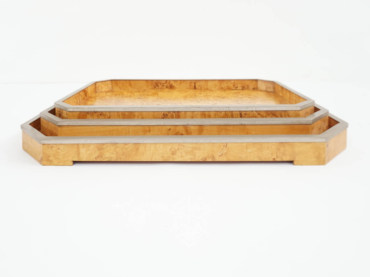 Set of 3 Walnut Root Trays
