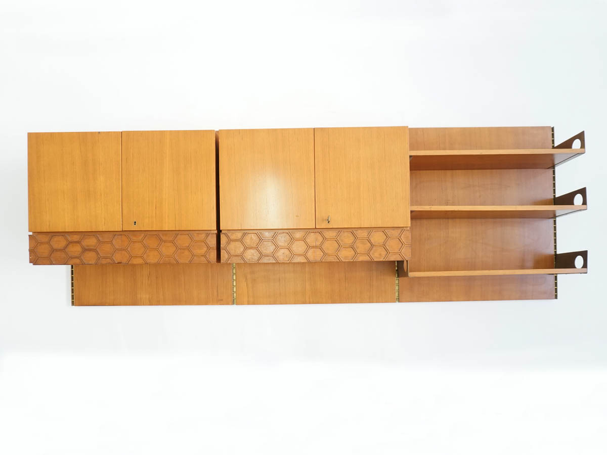 Suspended Wall Unit Bookshelf with Cabinets and Drawers