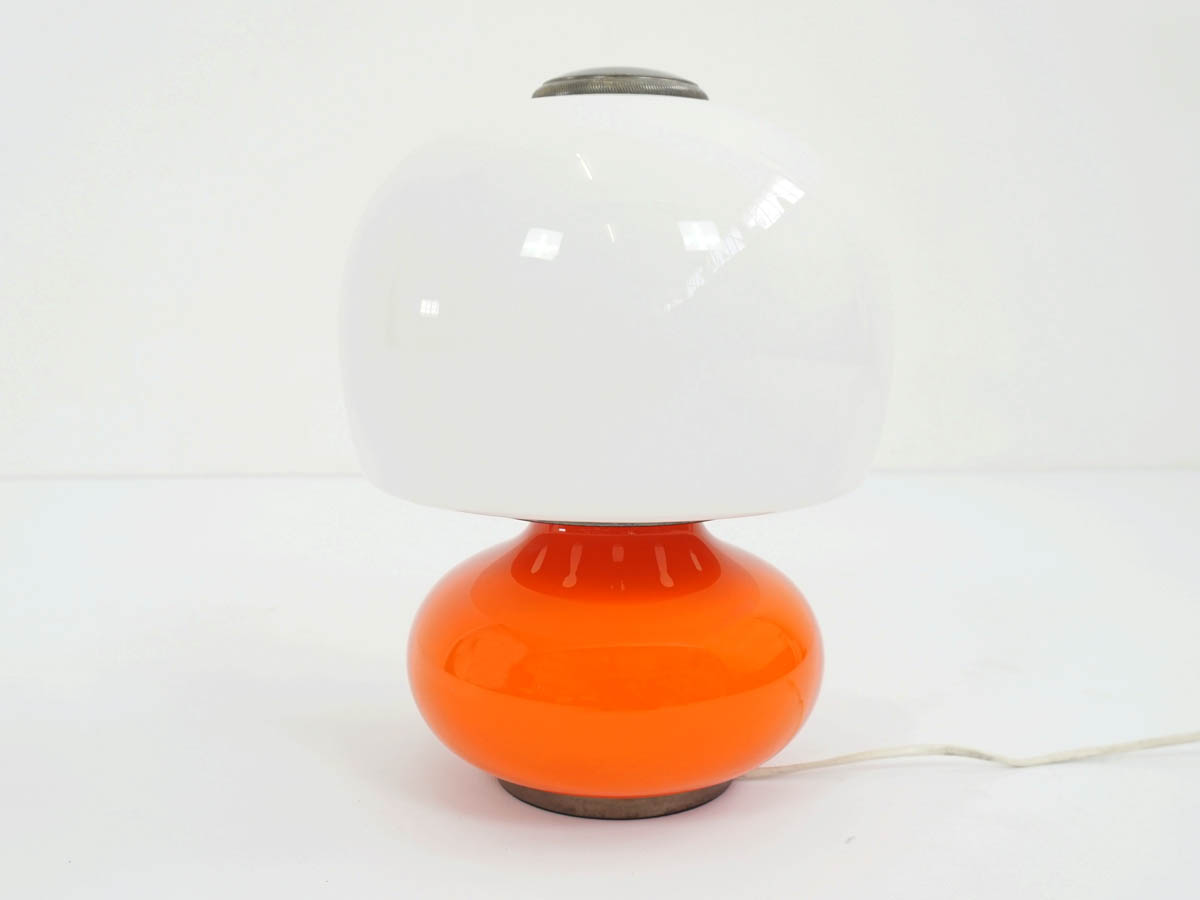 1960, Spac Age Table Lamp in Orange Glass