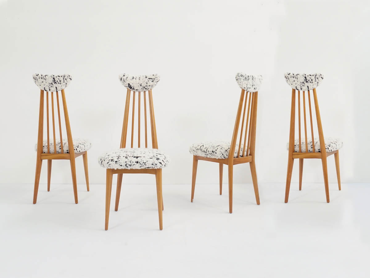 4 Chairs mod. Mademoiselle in new Lambswool