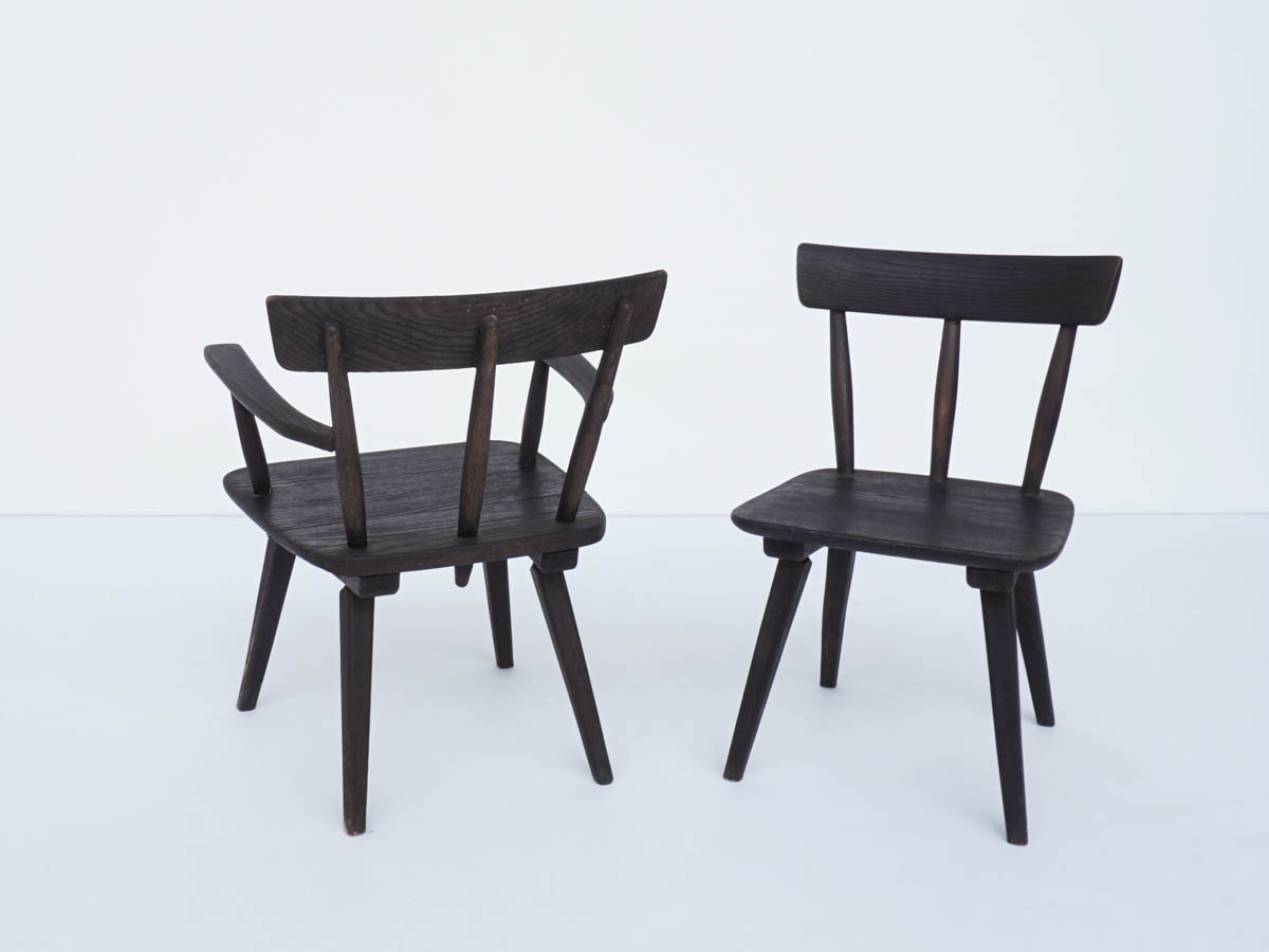 4 Louge Armchairs in Black Solid Larch