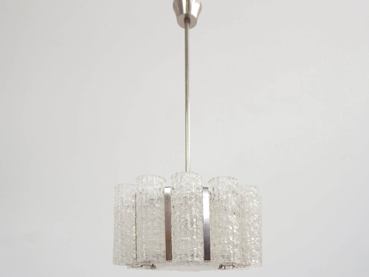 1960, Glass and Metal-Chromed Chandelier