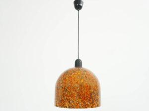 1960 Orange Murrine Glass Ball Light