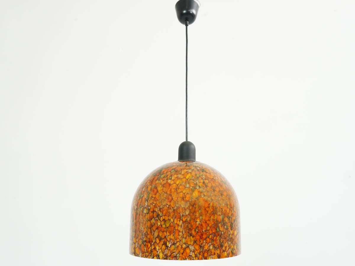 1960 Orange Murrine Glass Ball Light