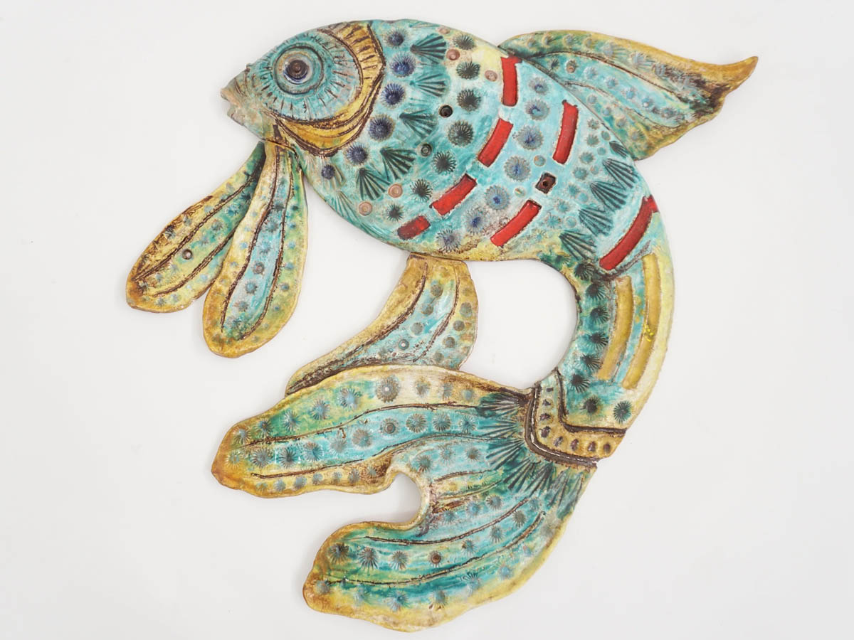"Big Ceramic ""Fighting Fish"" for Wall Decoration"