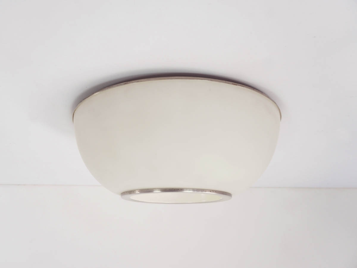 Big Space Age Milk Glass Flush Light