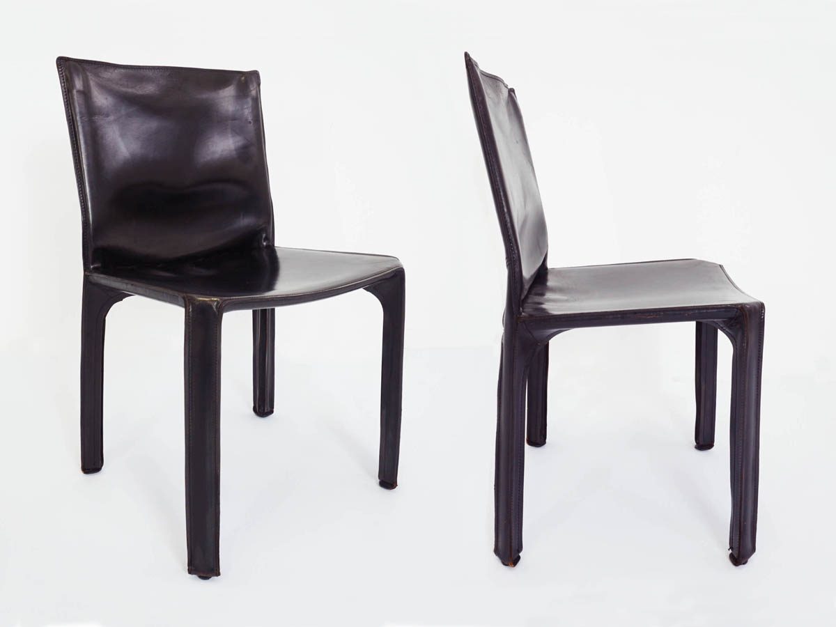 2 Black patina leather chairs mod. CAB 412