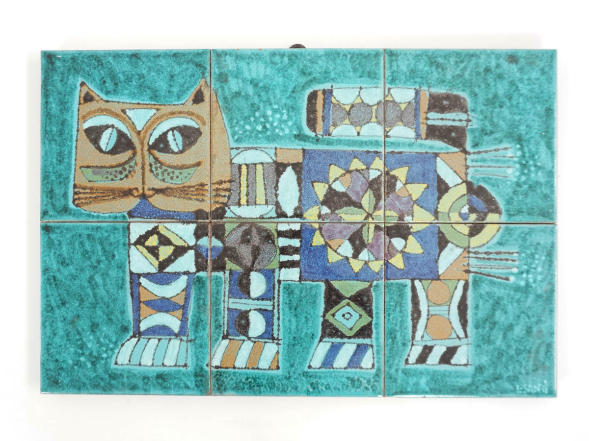 """Cat Lovers"" Decorative Ceramic Panel"