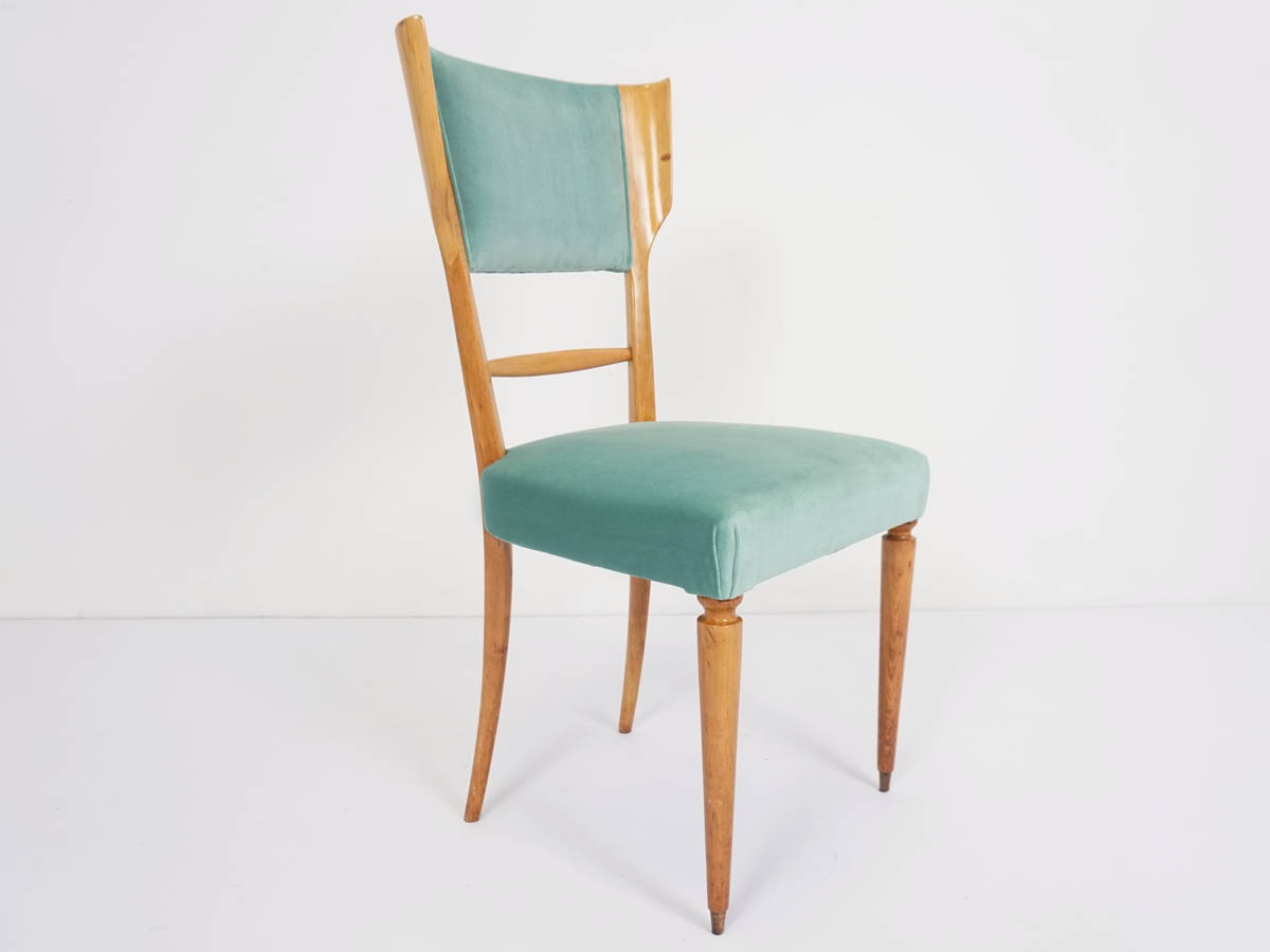 Single Lemon wood Celadon Velvet Chair
