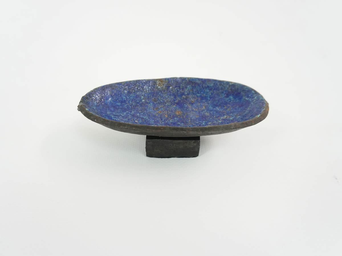 Small Bowl in Solid Blue Enameled Metal
