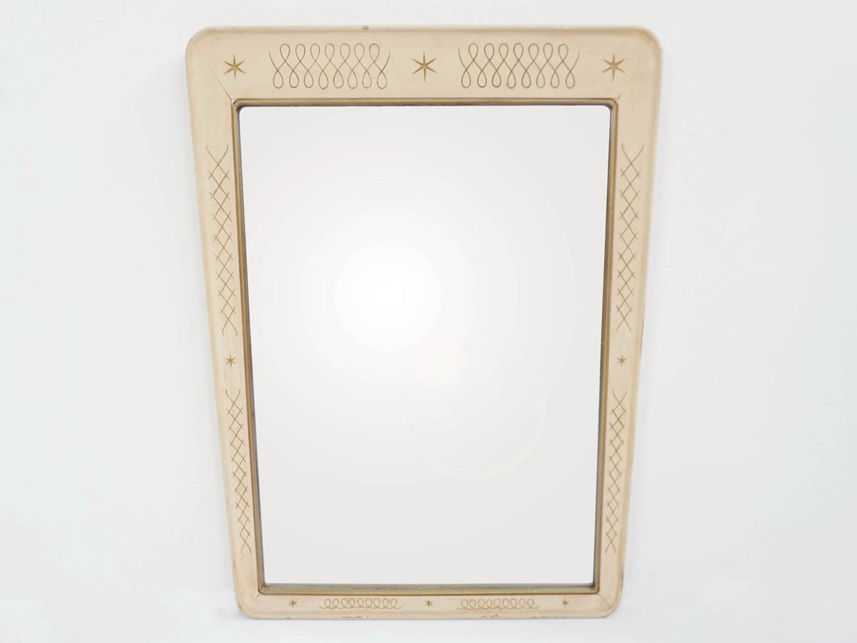 Mirror in Turned Lacquered Wood with Engraved Stars