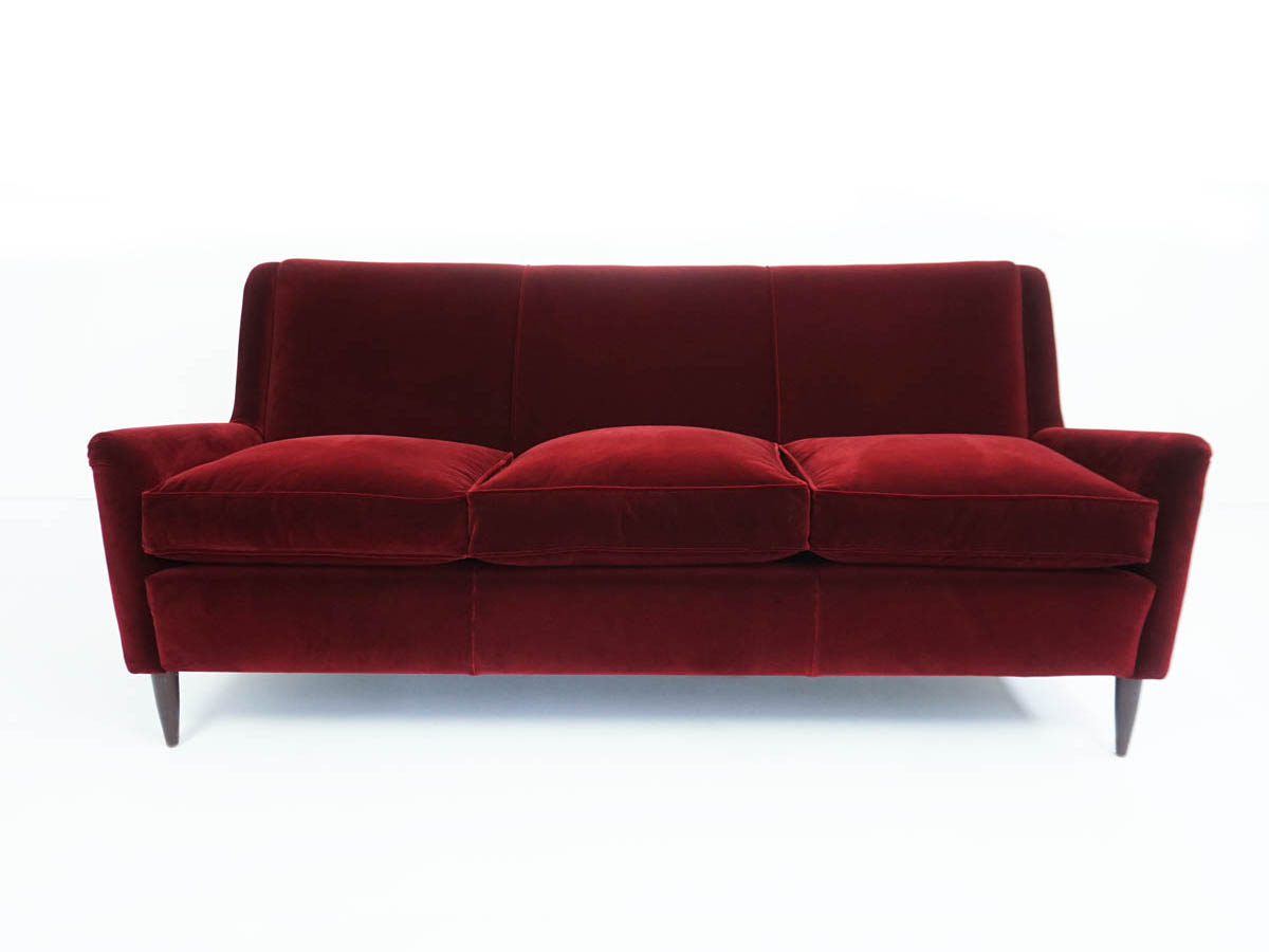 Comfortable three-seater Red Velvet Sofa