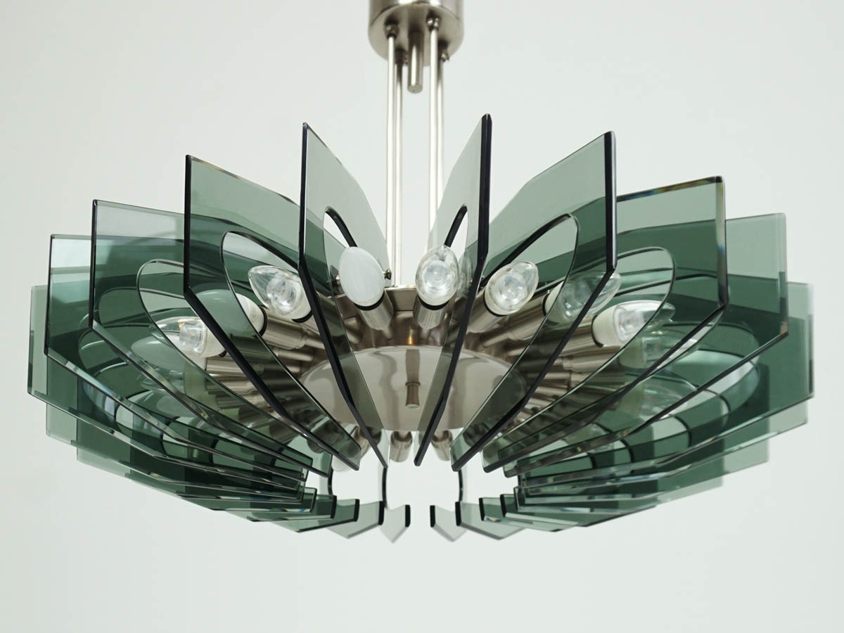 Fontana Arte Important Glass Chandelier