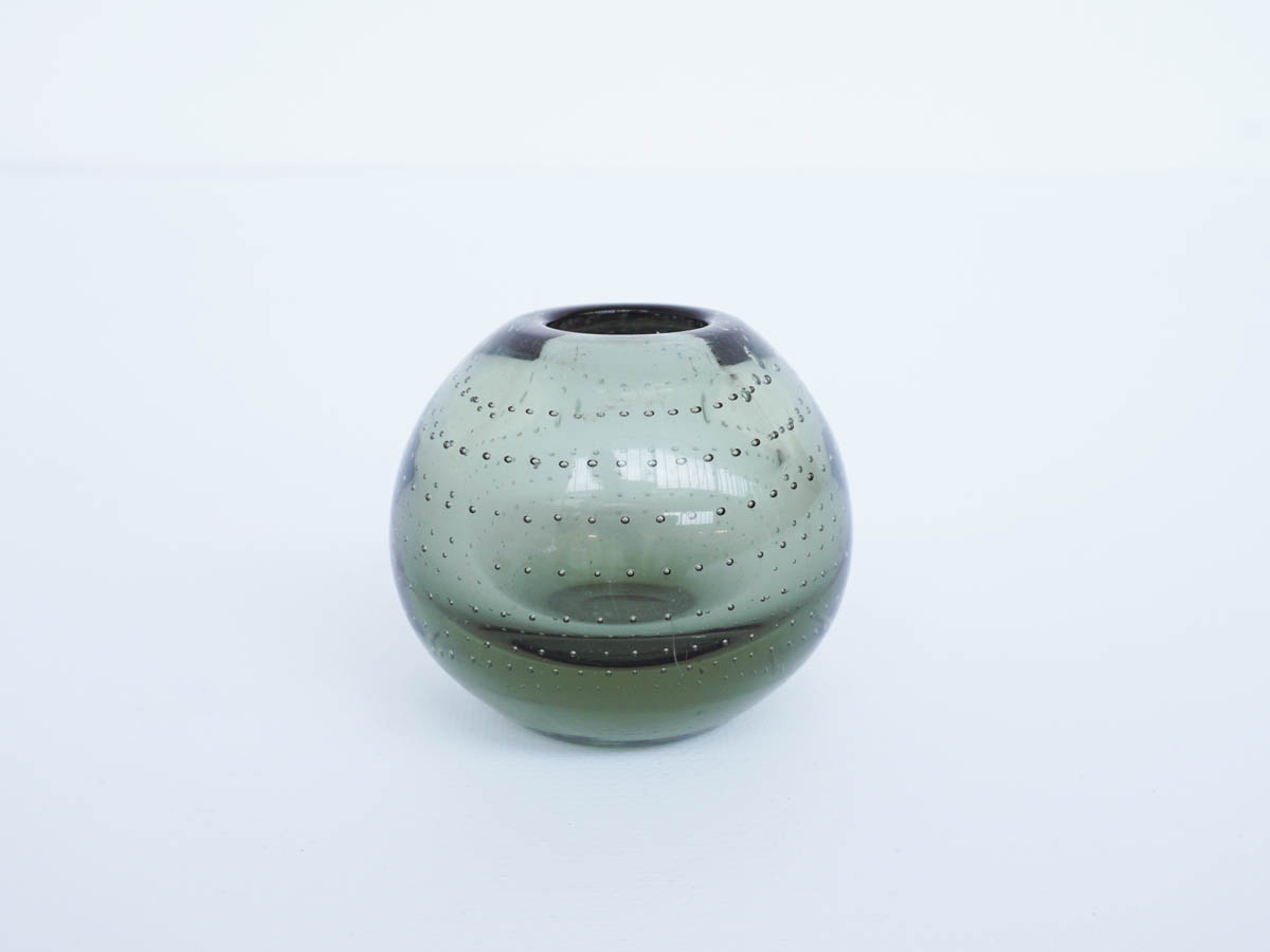 Small Swedish Green Glass Bowl Jar