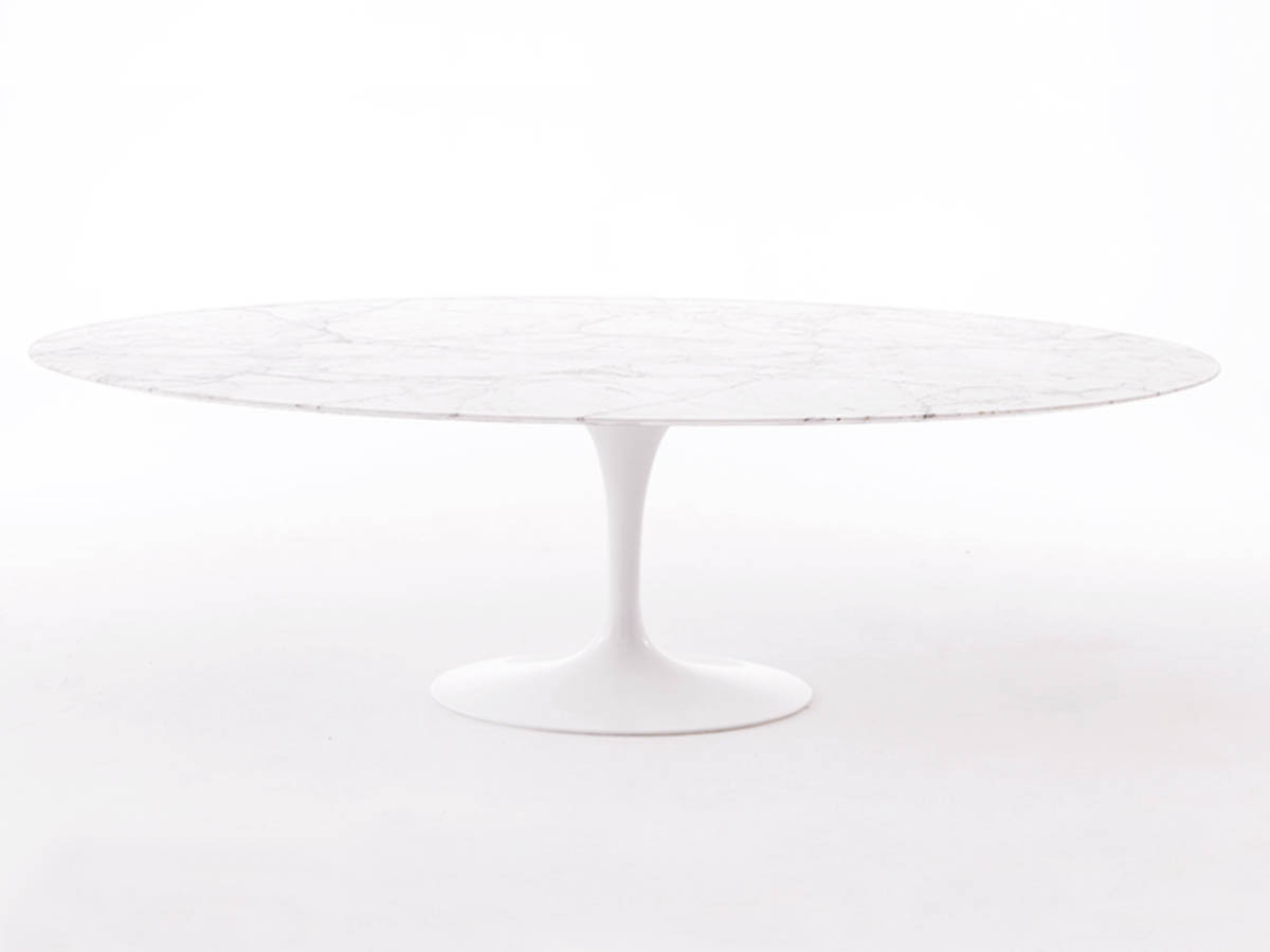 Oval Tulip Table in Calacatta Marble 244 cm
