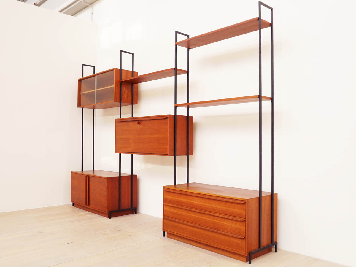 Modular Teak Bookselfs, Cabinets, Drawers, Desk