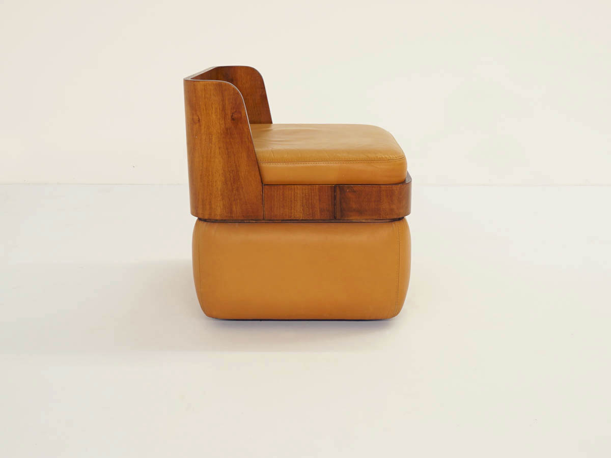 Small Curved Walnut and Leather Armchair