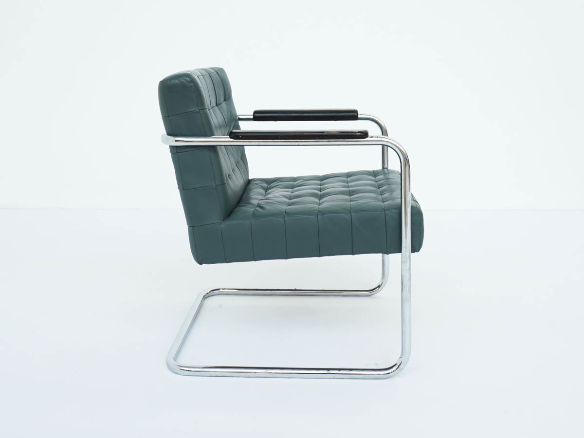 Emerald Green Leather Bauhaus Armchair