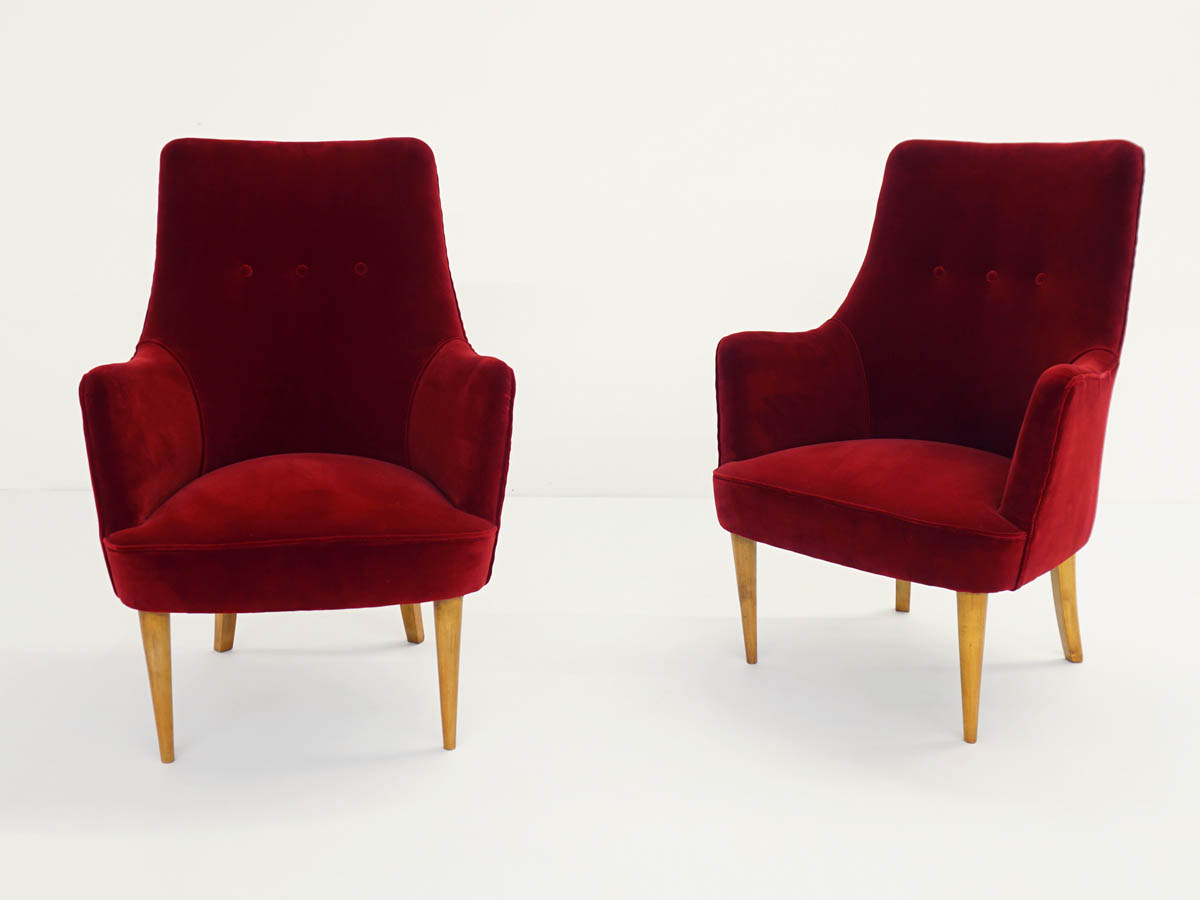 Pair of High-Backed Armchairs