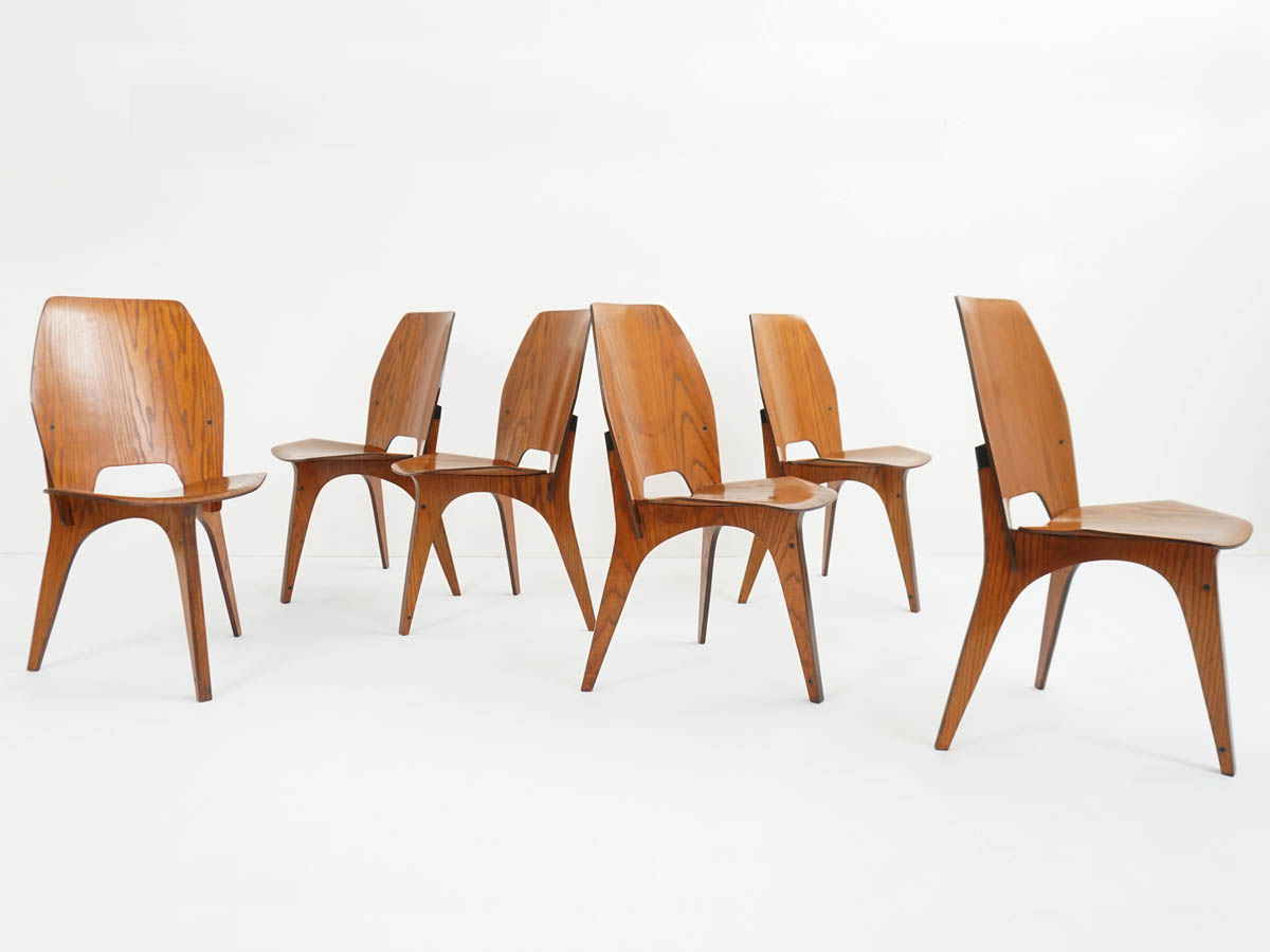 1958 Teak Interlocking Plywood Chairs by Tecno