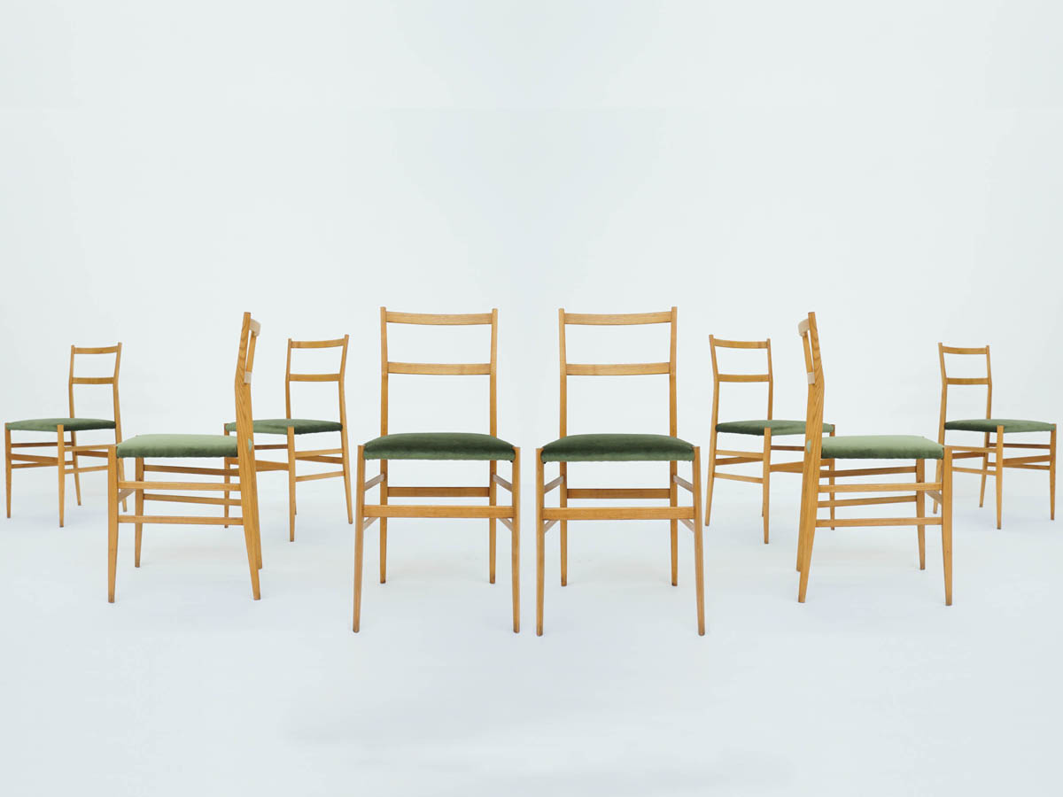 8 Chairs Superleggera in Sage Green Velvet