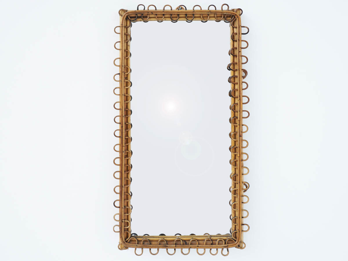 Rectangular Bamboo Mirror, Italy 1950