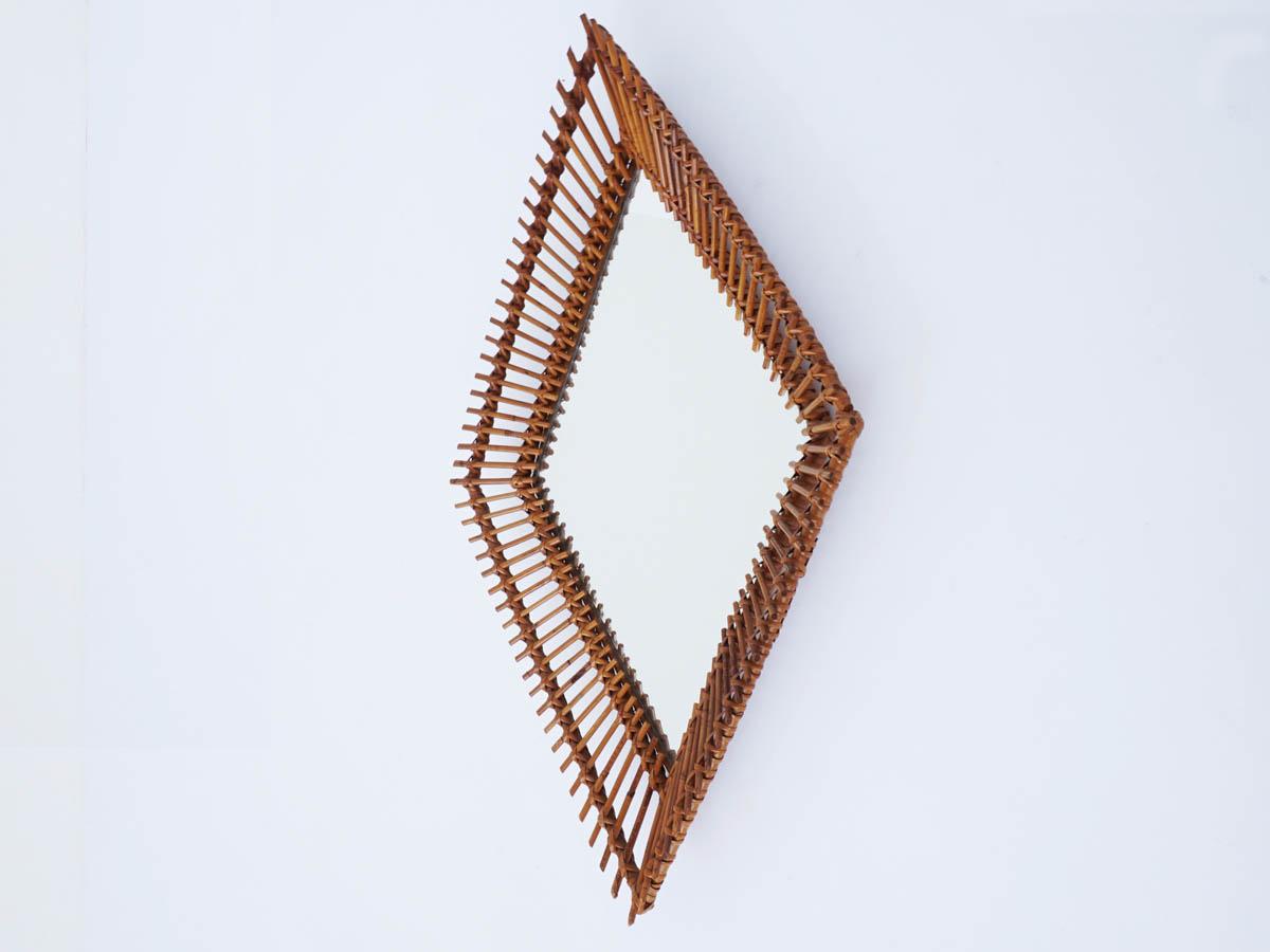 Miroir en Bambou Rhomboïdal, Italie 1950
