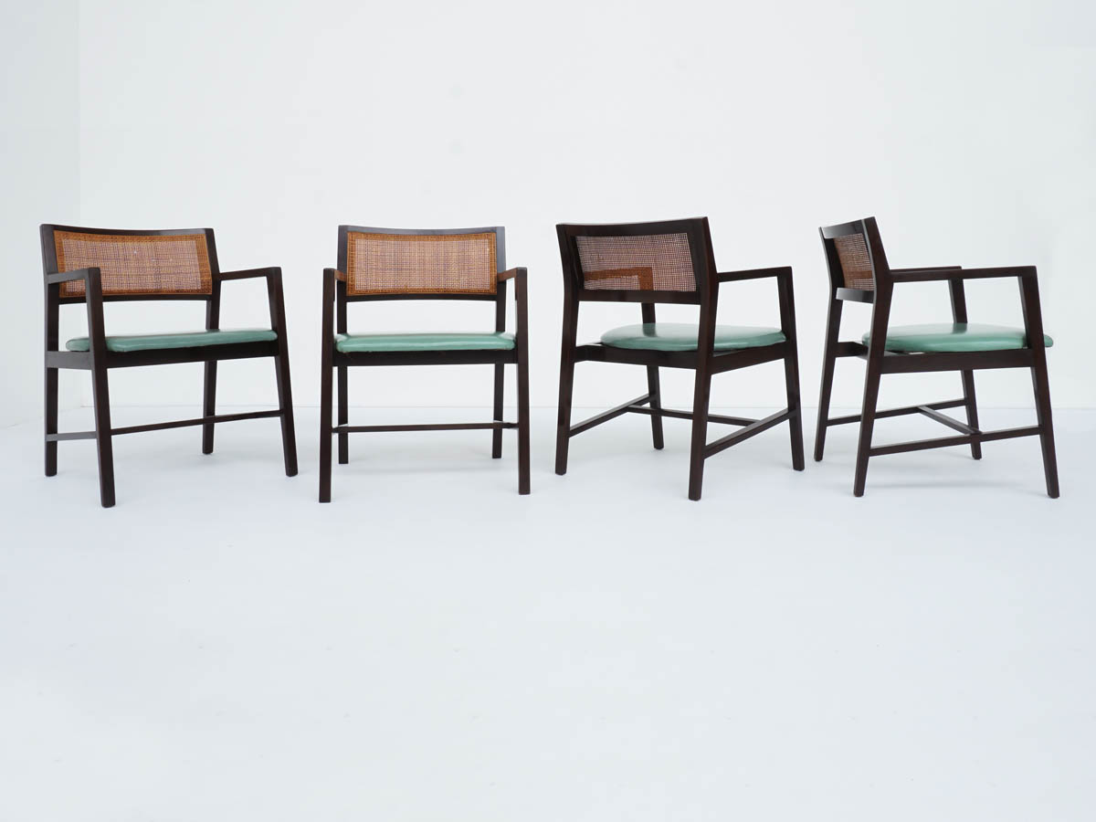 Armchairs with Vienna Straw and Pistachios Leather