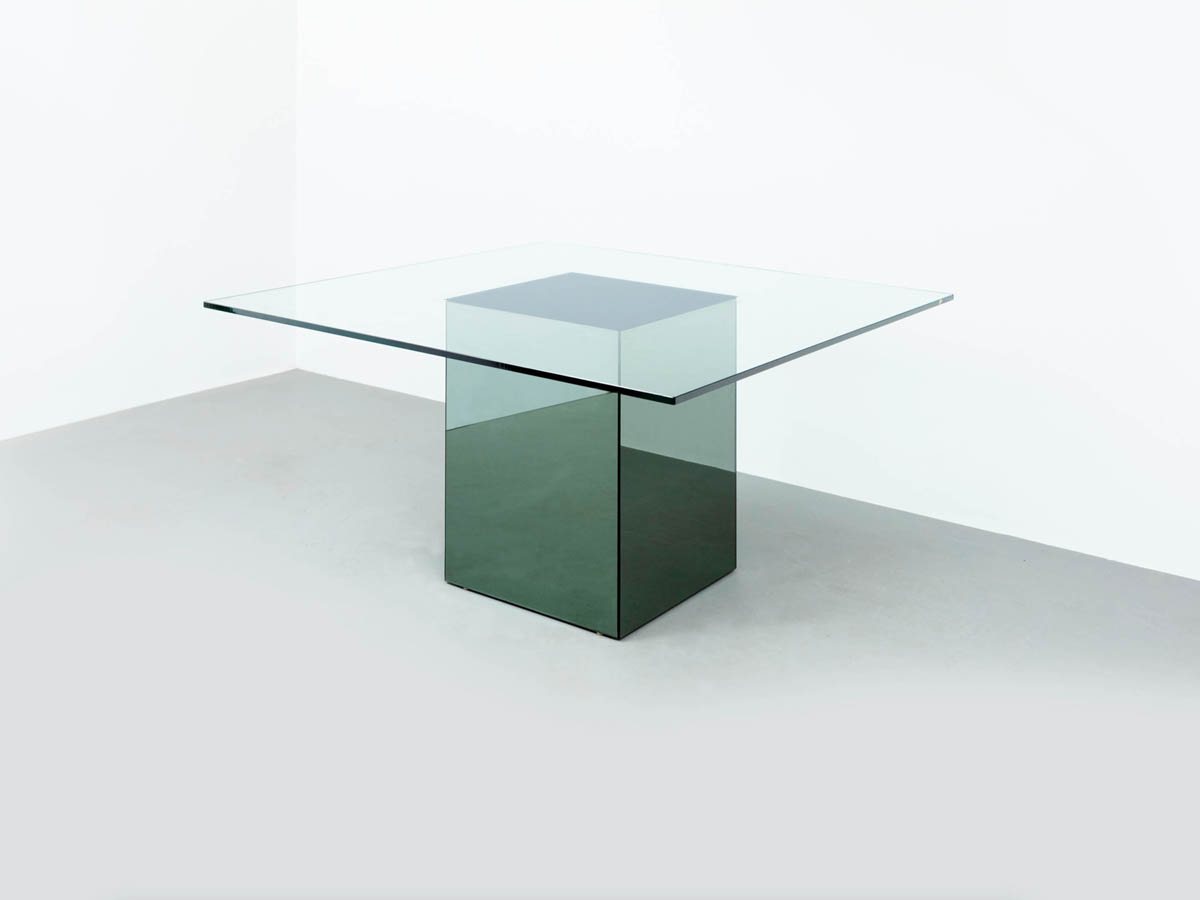Mirrored Glass Square Table Mod. Blok