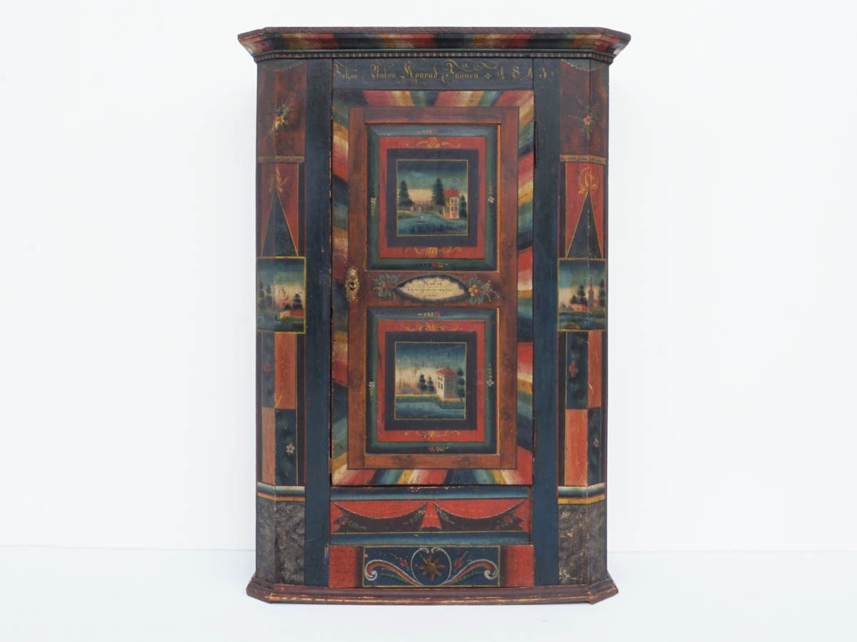 Antique Painted Wardrobe, Wedding Gift, Appenzell 1843