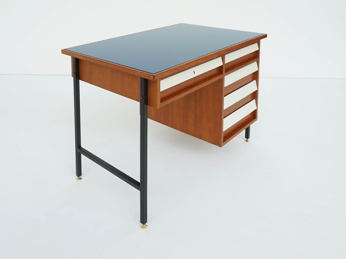 Small Desk with Drawers, Blue Glass, Italy 1950