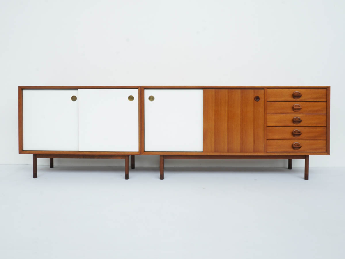 2 Sideboards with Revolving Doors (Teak/White) Finished also behind