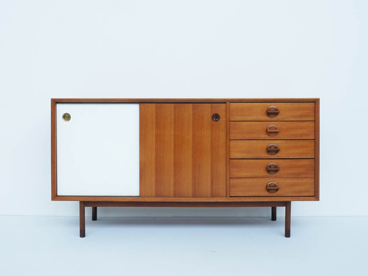 Sideboard with Revolving Doors (Teak/White) Finished also behind