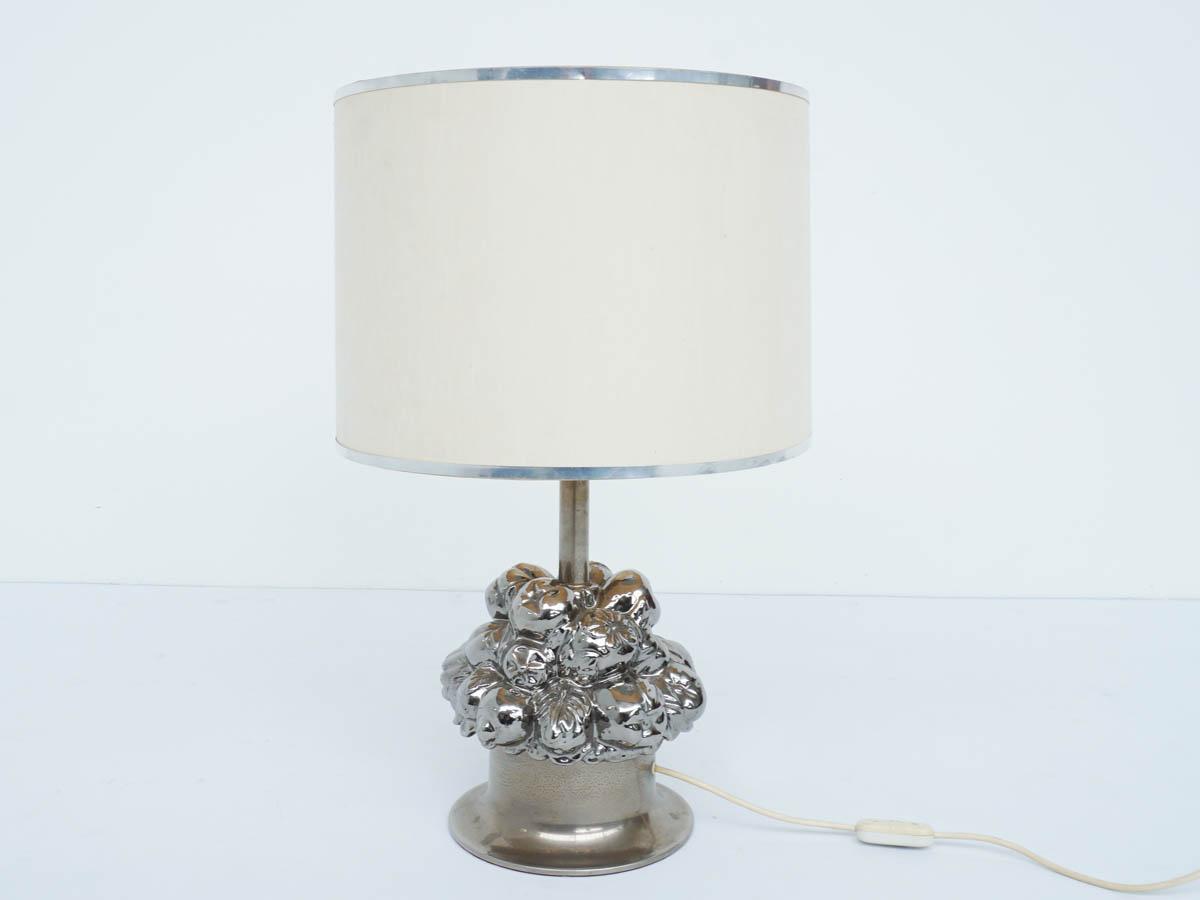 Silvered Ceramic Table Lamp, Fruit basket