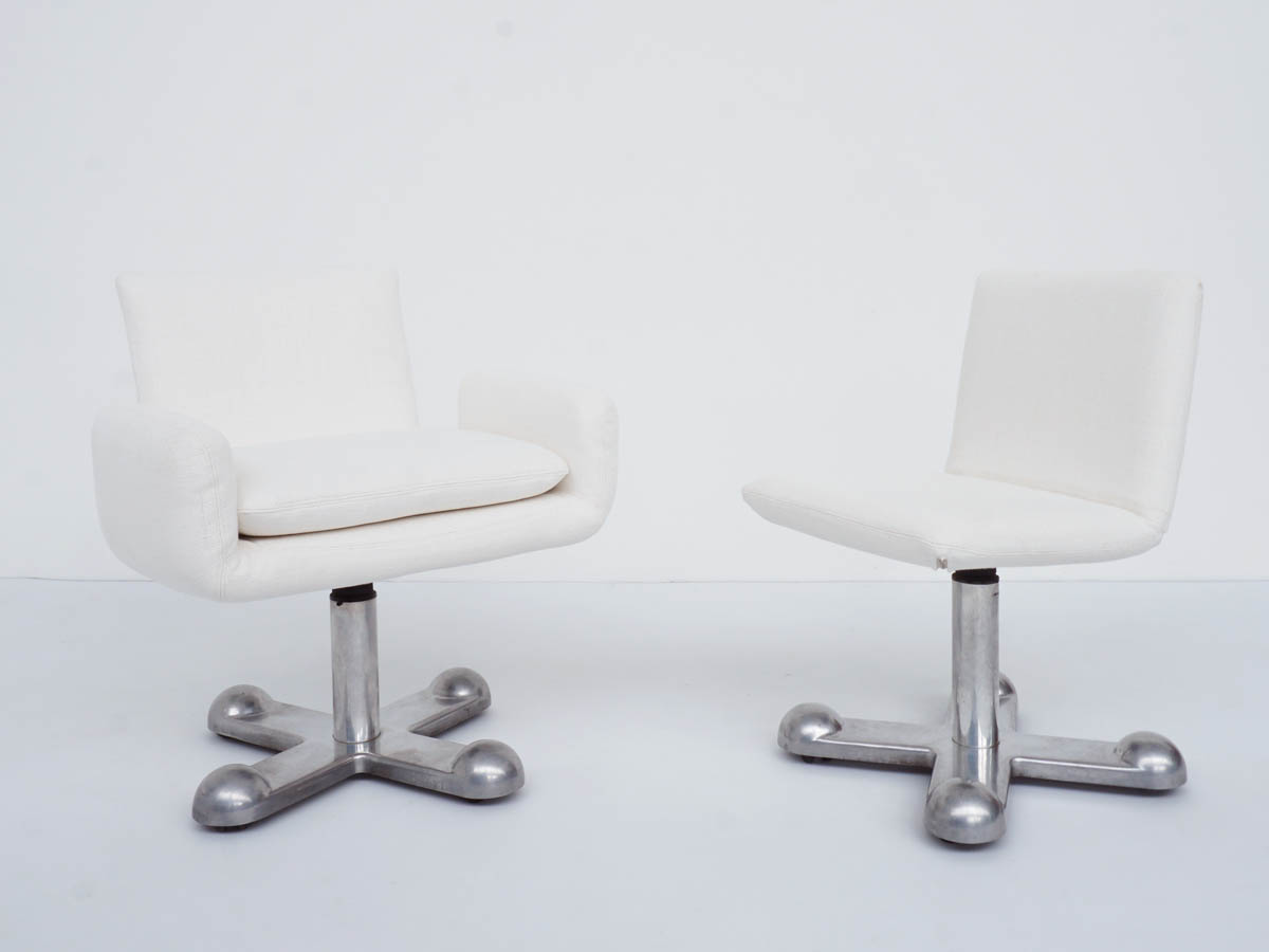 Planula Sliding Desk Chair and Armchair in Raw Cotton