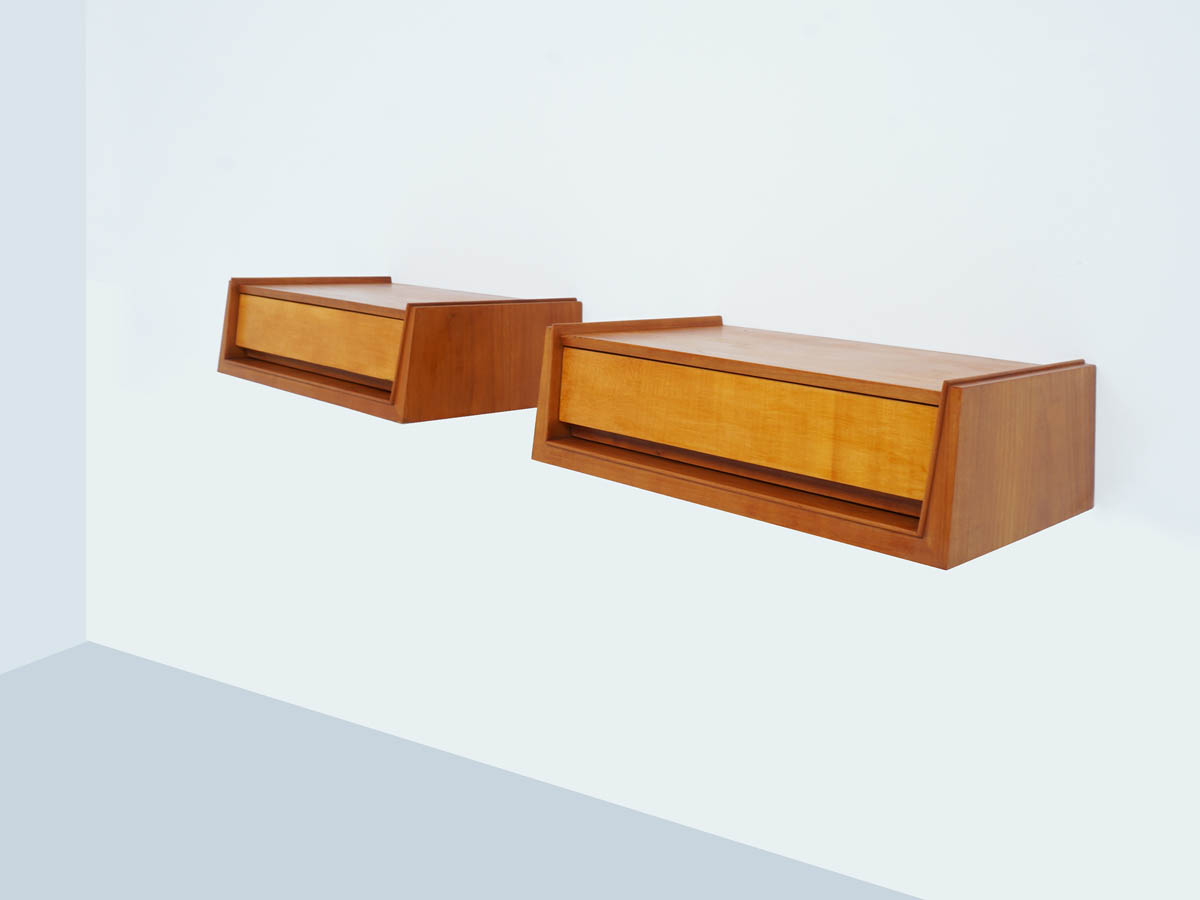 Two Suspended Diagonal Bedside tables