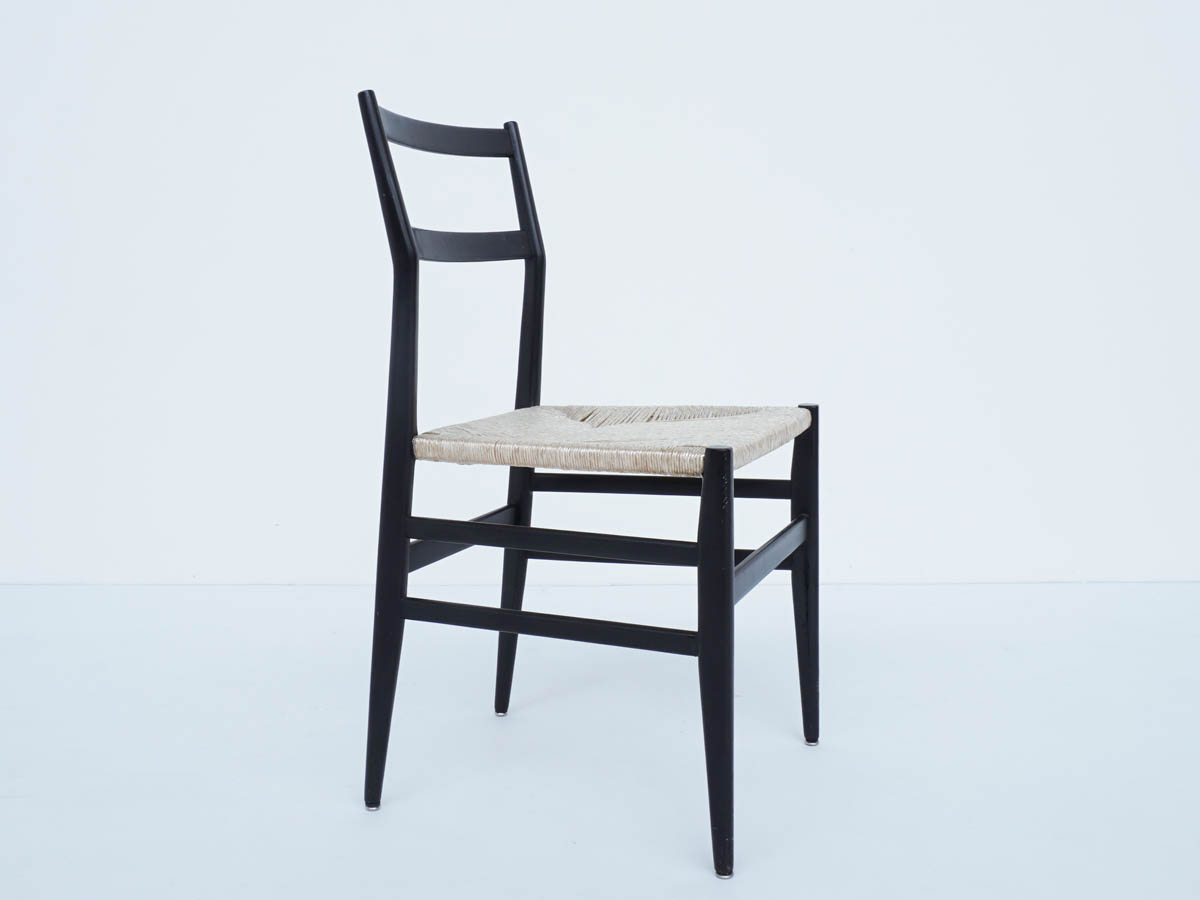 Black Lacquered Chair mod. Leggera 646 in Rope