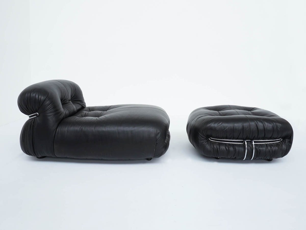 Lounge Chair and Ottoman mod. Soriana in Black Leather