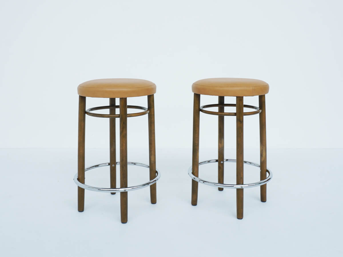Thonet High Bar Stools mod. nr 17 in Eco Leather