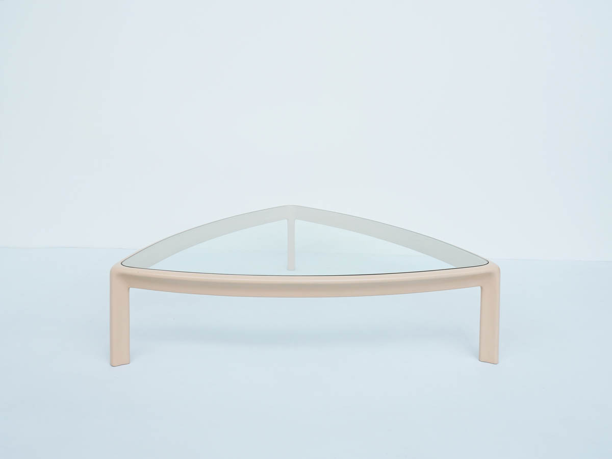Huge Pale Pink Lacquered Wood Coffee Table