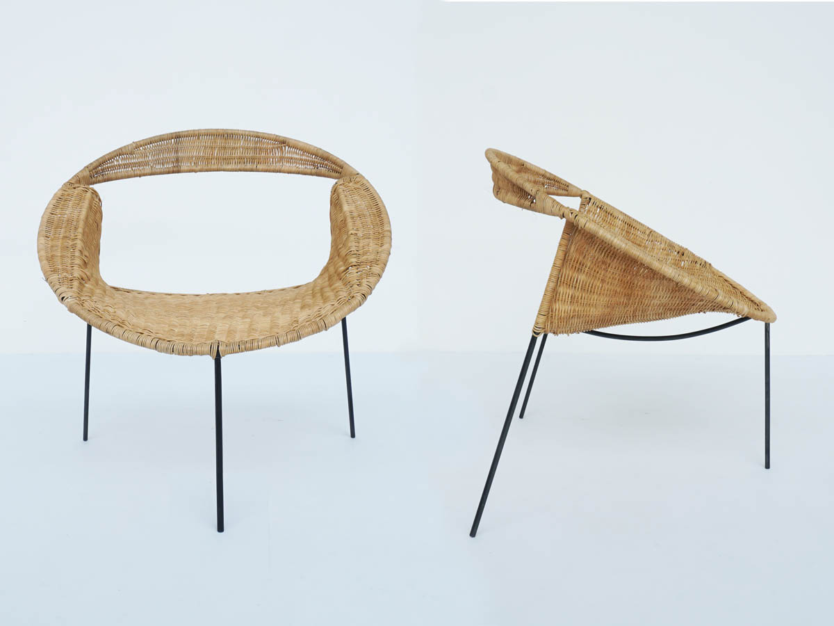 Runde Sessel aus geflochtenem Schilfrohr