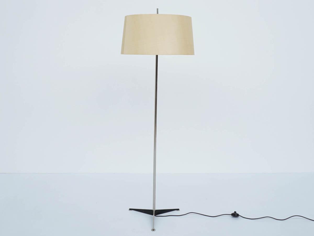 Swiss Standing Lamp with Big Raw Silk Lampshade